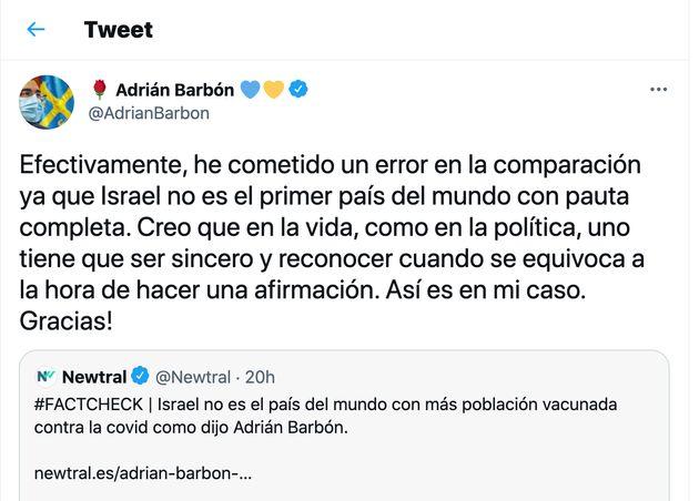Captura del tuit de Adrián