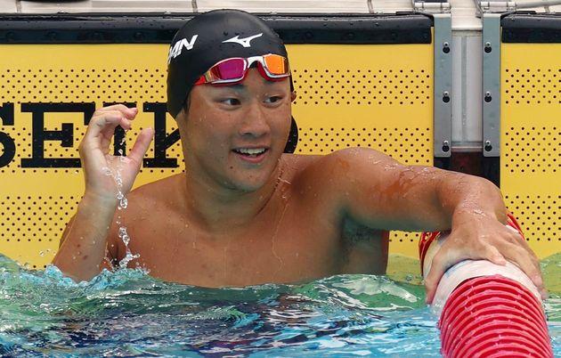奈良県選手権の男子100m平泳ぎ決勝、ゴールした東京五輪代表の佐藤翔馬選手=2021年06月26日撮影