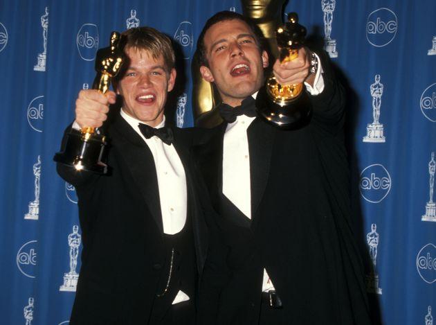 Matt Damon and Ben Affleck with their Oscars for