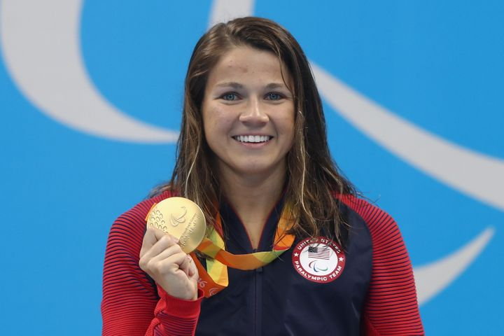 Meyers wins the gold for the Womens' 400m Freestyle S13 Final at the Rio 2016 Paralympic Games.