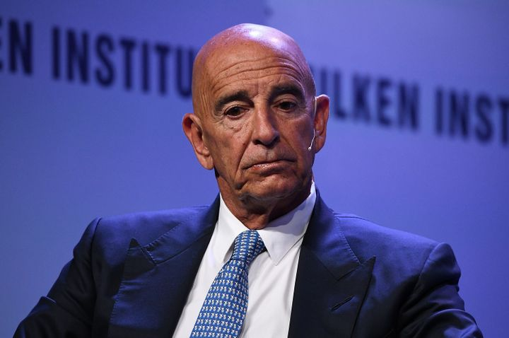 Thomas Barrack, pictured in April 2019, has been charged with secretly working for a foreign government while he advised Dona