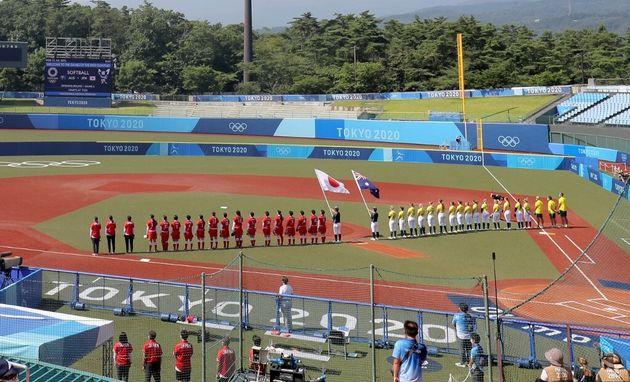 Les équipes du Japon et d'Australie se sont affrontées pour la première compétition des JO ce 21