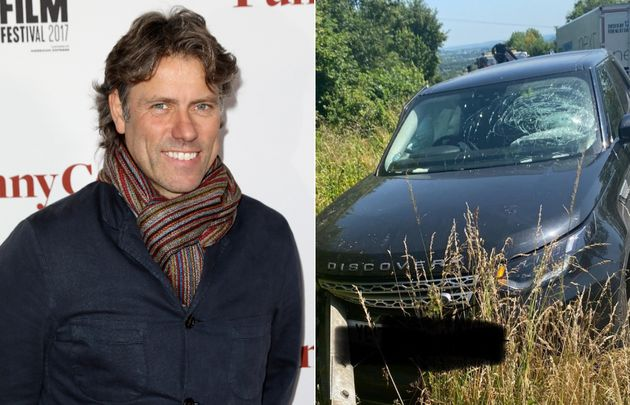 John Bishop and his Land Rover, pictured after Tuesday's chicken-related