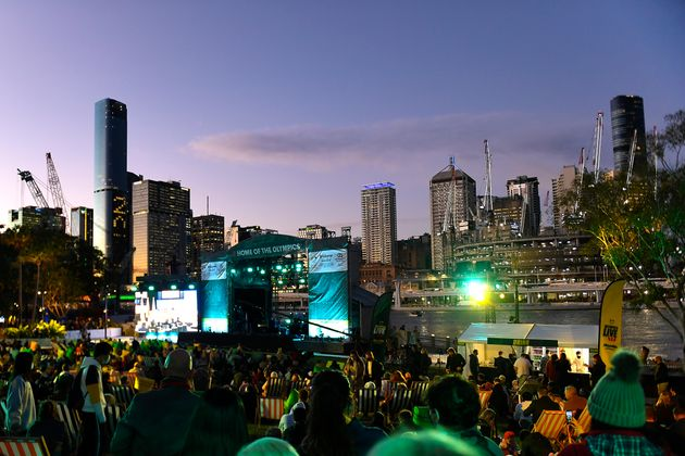 BRISBANE, AUSTRALIA - JULY 21: A general view is seen of the stage area during the announcement of the host city for the 2032 Olympic Games, watched via live feed in Tokyo, at the Brisbane Olympic Live Site on July 21, 2021 in Brisbane, Australia. (Photo by Albert Perez/Getty Images)