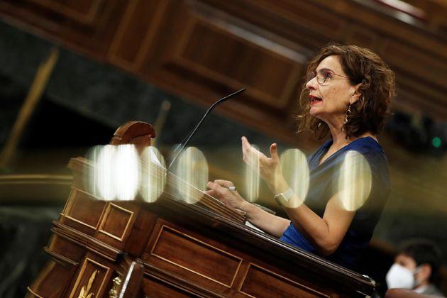 La ministra de Hacienda y Función Pública, María Jesús Montero, este miércoles, en el
