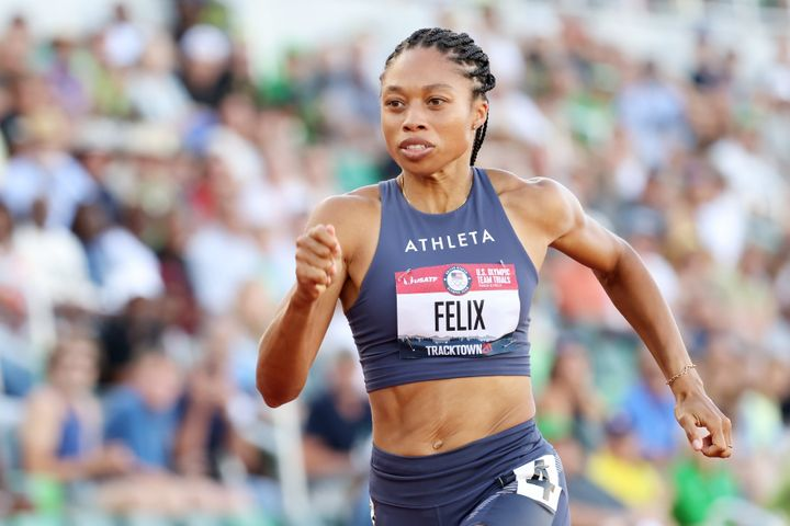 Allyson Felix competes in the first round of the women's 200-meter dash on Day 7 of the 2020 U.S. Olympic Track & Field Team Trials at Hayward Field on June 24, 2021, in Eugene, Oregon.