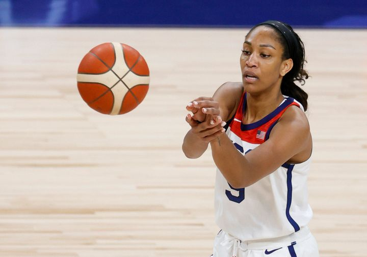 A'ja Wilson of the United States passes against Nigeria during an exhibition game at Michelob ULTRA Arena ahead of the Tokyo Olympic Games on July 18, 2021, in Las Vegas. The United States defeated Nigeria 93-62.