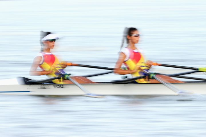TOKYO, JAPAN - JULY 21: The Team Romania Women's double row during a training session at Sea Forest Waterway ahead of the Tokyo 2020 Olympic Games on July 21, 2021 in Tokyo, Japan. The Sea Forest Waterway will host the rowing, and canoe sprint competition. (Photo by Cameron Spencer/Getty Images)