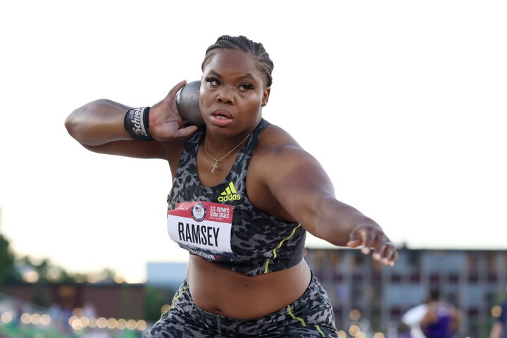 Jessica Ramsey competes in the Women's Shot Put Finals on Day 7 of the 2020 U.S. Olympic Track & Field Team Trials at Hayward Field on June 24, 2021, in Eugene, Oregon.