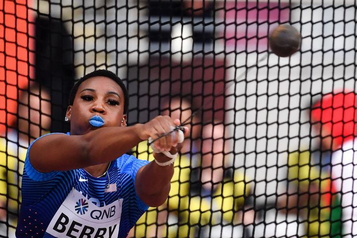 USA's Gwen Berry competes in the women's hammer throw heats at the 2019 IAAF World Athletics Championships at the Khalifa International Stadium in Doha on Sept. 27, 2019.