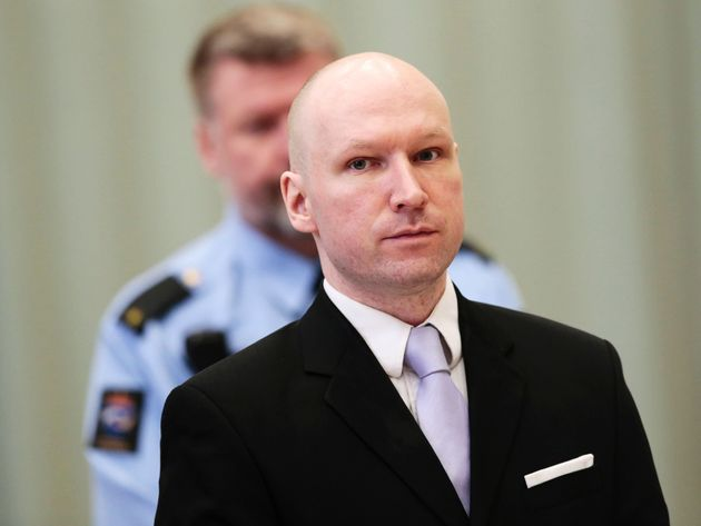 Norwegian mass killer Anders Behring Breivik attends his fourth and last day in court in Skien prison,...