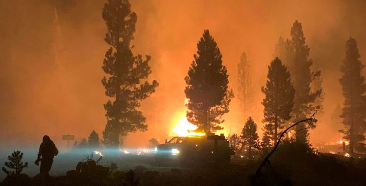 In this photo provided by the Bootleg Fire Incident Command, the Bootleg Fire burns on Saturday night in southern Oregon.&nbs