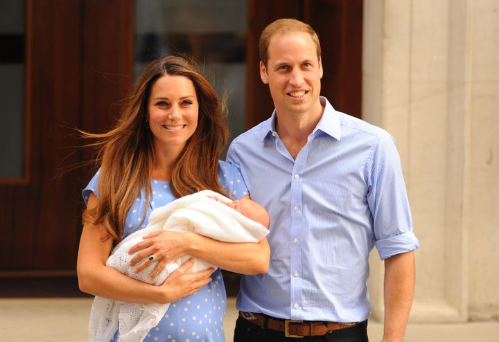 The Duke and Duchess of Cambridge leave the Lindo Wing of St Mary's Hospital with their newborn son, Prince George of Cambridge in 2013.