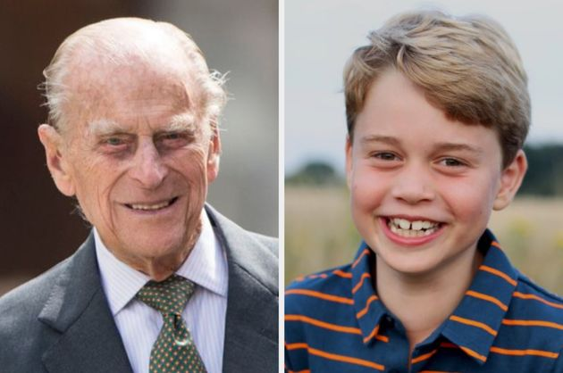The late Duke of Edinburgh and his great-grandson Prince George, who turns 8 on July 22