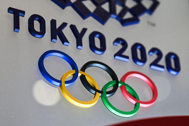 Le logo des Jeux Olympiques de Tokyo 2020 dans la capitale japonaise, le 28 janvier