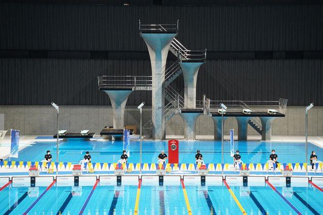 パラ水泳のテスト大会が開かれた東京アクアティクスセンター=遠藤啓生撮影