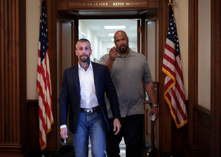 Metropolitan Police Officer Michael Fanone and U.S. Capitol Police Officer Harry Dunn at the U.S. Capitol on June 25, 2021, a