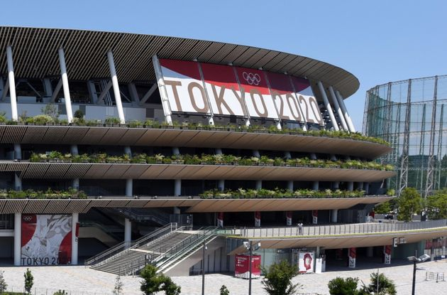 epa09357494 General view of the National Stadium, the main venue of the Tokyo 2020 Olympics and Paralympics,...