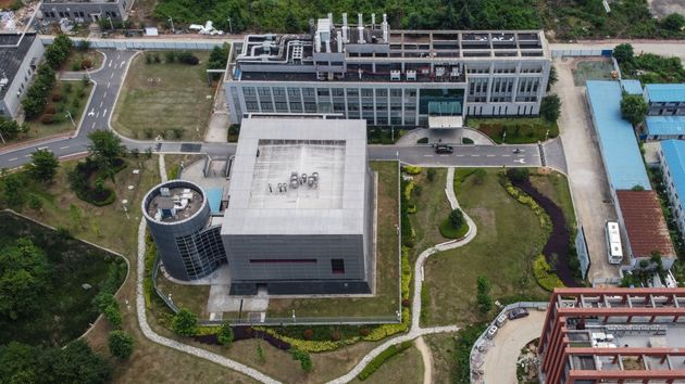 This aerial view shows the P4 laboratory on the campus of the Wuhan Institute of Virology in Wuhan in...