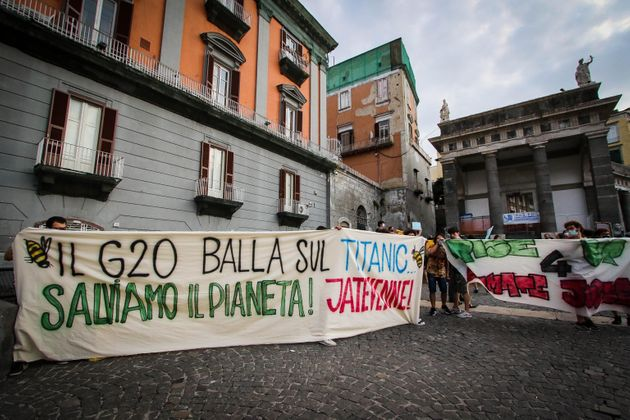 A moment of a protest against the G20 environment ministers that will open tomorrow in Naples, Italy,...