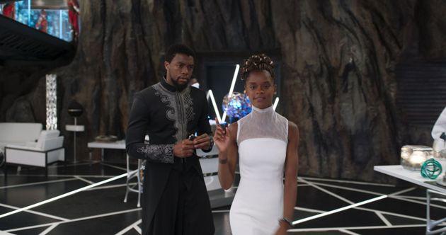 Chadwick Boseman and Letitia Wright in Black