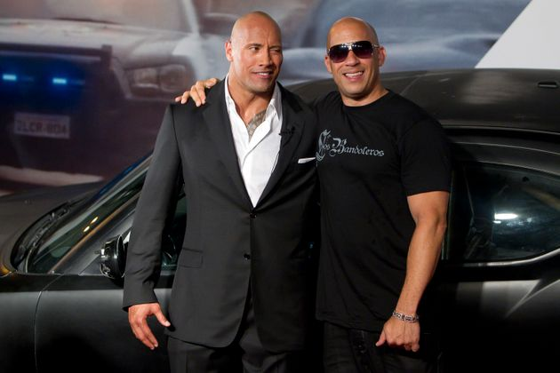 Dwayne Johnson and Vin Diesel pose for photographers during the premiere of the movie Fast and Furious...