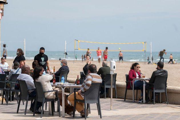 Una terraza en Valencia, el pasado 9 de
