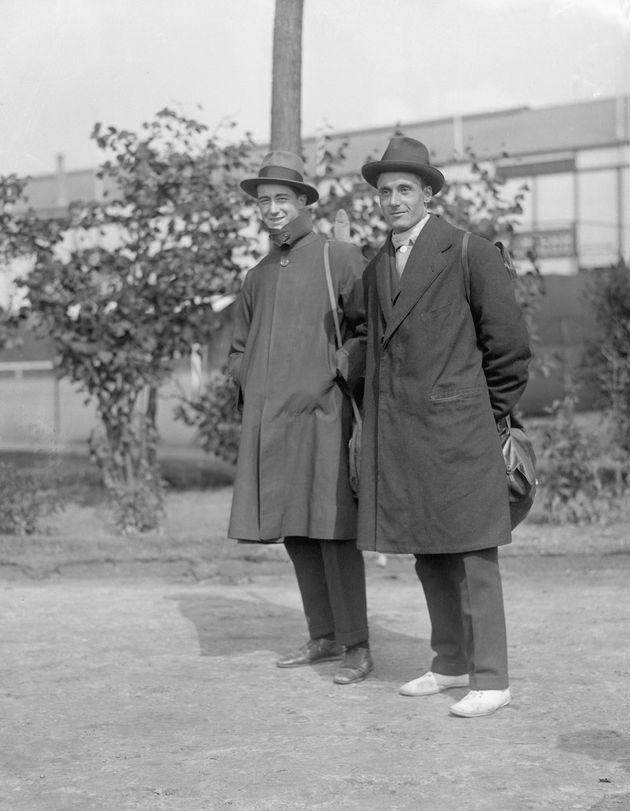 (Original Caption) 1920-Antwerp, Belgium- Aldo Nadi and Nedo Nadi, Italian champion fencers of the world, are shown at the 1920 Olympics in Belgium. Filed 9/18/1920.