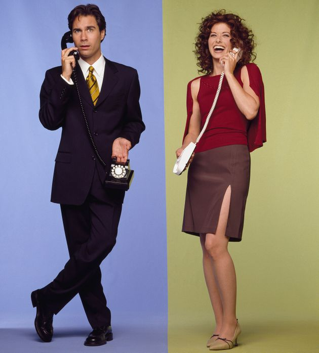 Eric McCormack and Debra Messing in promo shots for Will & Grace's first