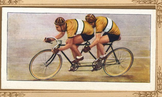 Track Tandem Position', 1939. From Cycling 1839-1939 . [John Player & Sons, London, 1939]Artist Unknown....