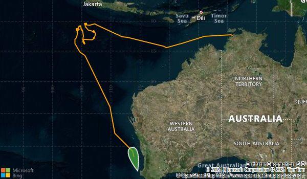 Voyage de recherche de Darwin à Fremantle, en passant par l'île Christmas et les îles...
