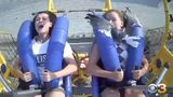 Kiley Holman (right) had a seagull fly into her while riding the SpringShot ride at Morey's Piers in Wildwood, New Jersey earlier this month.