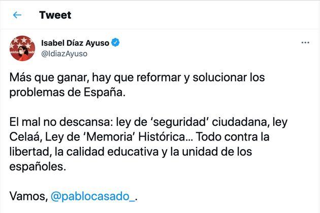 Un tuit de Isabel Díaz
