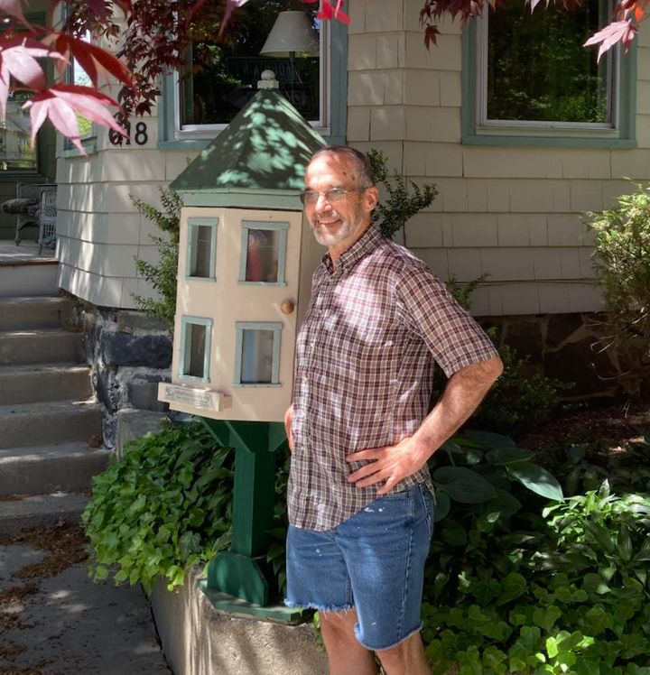 The author in front of his home in Cambridge, Massachusetts.