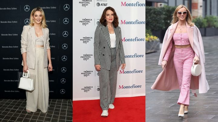 Many celebrities have been rocking the gingham trend in 2021.