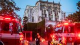 The New Orleans Fire Department respond to a fire in 1500 block of Harmony Street in New Orleans, La., Wednesday, July 21, 2021. The fire at Beyonce's Garden District mansion is being investigated as a possible arson. (Sophia Germer/The Times-Picayune/The New Orleans Advocate via AP)
