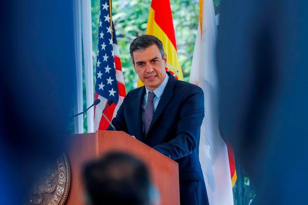 Pedro Sánchez, durante su intervención en la Universidad de Los