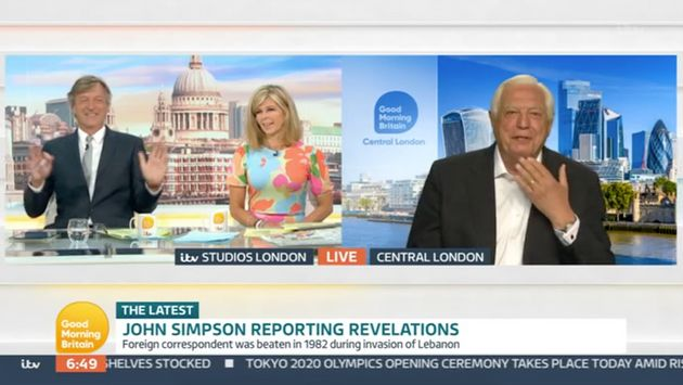 Richard and Kate interviewing John Simpson on