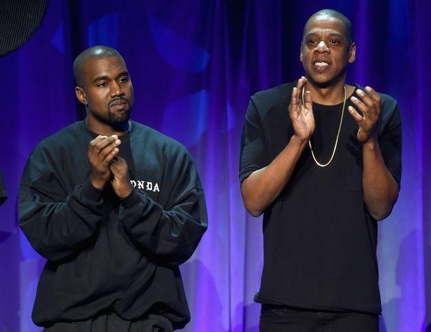 Kanye West et Jay-Z sur la scène de l'évènement #TIDALforALL le 30 mars 2015 à...