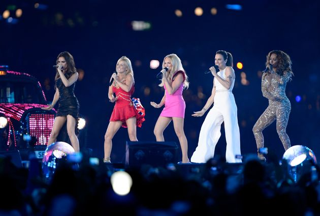 The Spice Girls performing in