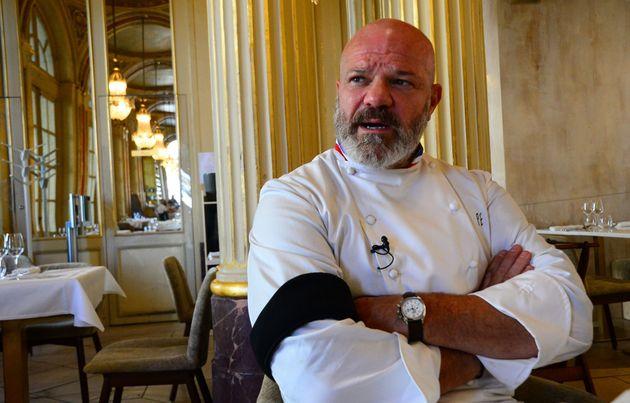 Le chef Philippe Etchebest lors d'une interview dans son restaurant