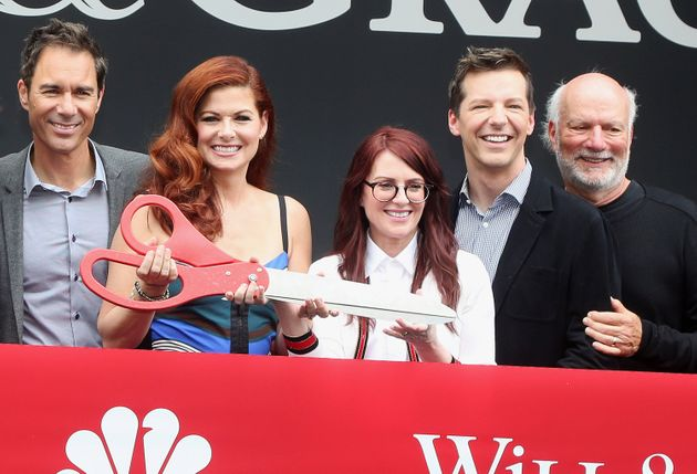 The cast of Will & Grace with James