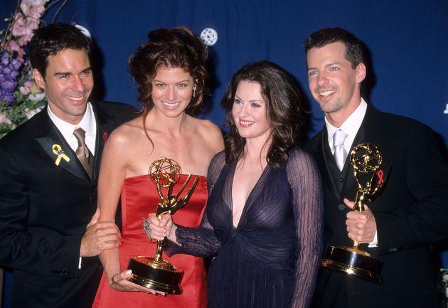 Eric McCormack, Debra Messing, Megan Mullally and Sean Hayes at the 2000