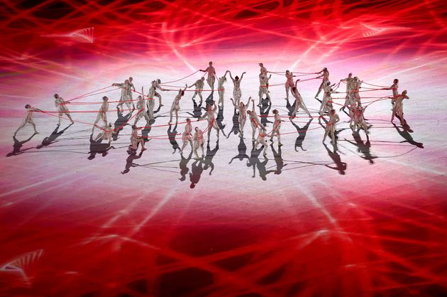 TOKYO, JAPAN - JULY 23: Performers dance during the Opening Ceremony of the Tokyo 2020 Olympic Games...