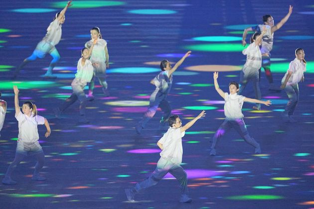 23 July 2021, Japan, Tokio: Olympia: Opening ceremony at the Olympic Stadium. Dancers perform at the...