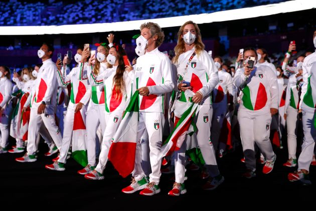 TOKYO, JAPAN - JULY 23: Team Italy during the Opening Ceremony of the Tokyo 2020 Olympic Games at Olympic...