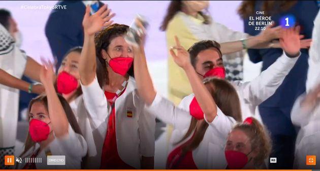 Los deportistas españoles, en el desfile de