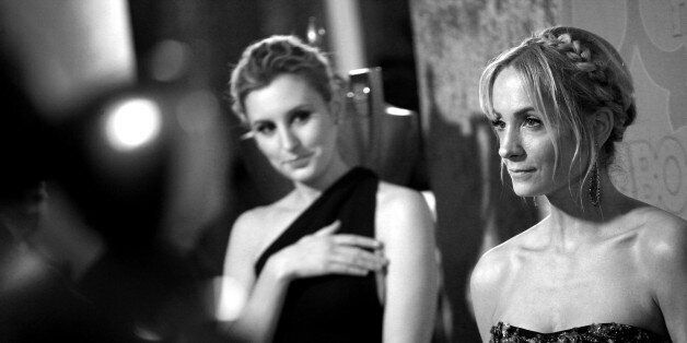 BEVERLY HILLS, CA - JANUARY 11: (EDITORS NOTE: Image has been converted to black and white.) Actrsses Laura Carmichael (L) and Joanne Froggatt attend the HBO'S Post Golden Globe Party held at The Beverly Hilton Hotel on January 11, 2015 in Beverly Hills, California. (Photo by Tommaso Boddi/WireImage)