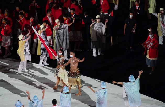 The Tonga Olympic team with Malia Paseka and Pita Taufatofua during the opening ceremony of the Tokyo...
