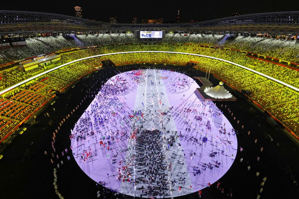 TOKYO, JAPAN - JULY 23: A general view of athletes during the Opening Ceremony of the Tokyo 2020 Olympic...